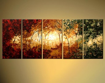 """Modern Landscape Abstract Original Acrylic Painting by Osnat - MADE-TO-ORDER - 60""""x24"""""""
