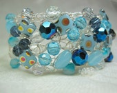 Wire Crochet Bracelet in Teal Blues, handmade crocheted beaded bracelet, blue beadwork jewelry