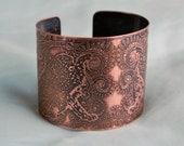Decorative Snow Leopard cuff, vintage design leopard copper bracelet