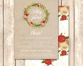 Woodsy Wreath Shower Invitation -- Fall or Autumn Bridal Shower, Engagement Party, Couples Shower