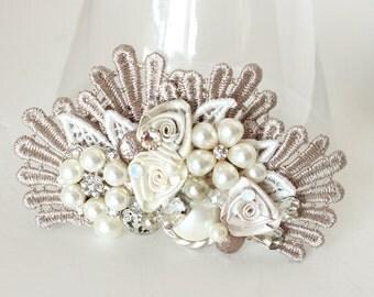 Champagne Bridal Hairpiece- Wedding Hair Piece- Lace Hair Accessories- Champagne Lace hairpiece- Champagne Hairclip- Bridal Hair Accessories
