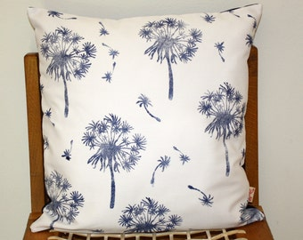 African Dandelion Hand block printed decorative scatter cushion cover Navy on white