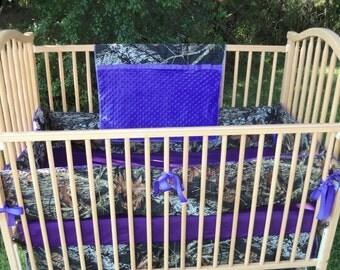 4 piece crib bedding set Mossy oak Purple minky baby girl bedding Camo blanket baby infant bedding