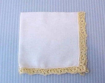 Lovely Vintage Handkerchief with Maize Yellow Tatted Edge