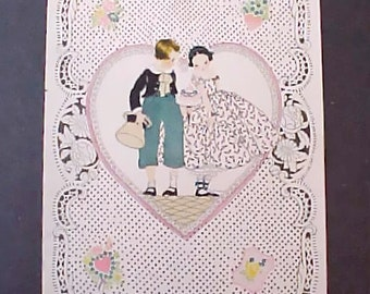 Sweet Vintage Valentine Card with Darling Boy and Shy Girl
