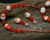 Jewelry Set Orange and White Glass Beads Necklace Earrings and Adjustable Bracelet