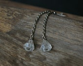 2 Inch Dangle Chain Earrings With Vintage Clear Glass Crystal Taper Beads