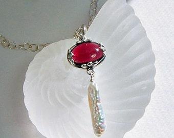 Garnet Pendant Necklace .   January Birthstone
