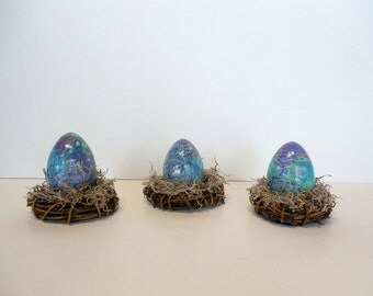 Purple Aqua Marbled Easter Egg in Nest