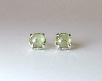 Peridot (Pale Chinese Peridot), 5mm x 0.62 Carat, Cabochon Cut, Sterling Silver Stud Earrings