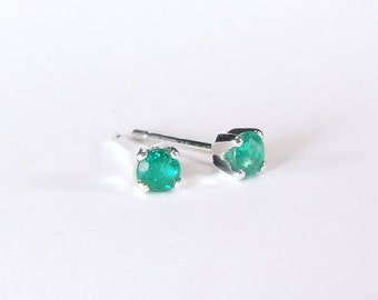 Emerald (3.5mm Translucent Genuine Emeralds), 0.34 Carats TCW, Round Cut, Sterling Silver Post Earrings