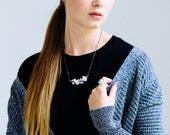 Marble Squares Necklace, Jasper Squares Necklace, Stone Necklace, Modern Necklace, Galaxy Necklace