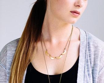 Scalloped Brass Necklace, Modern Geometric Necklace, Bohemian