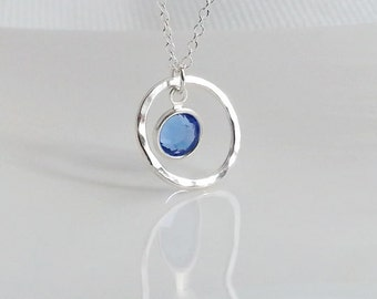 Birthstone Necklace. Eternity Necklace. Circle. Ring. Eternity. Swarovski Birthstones. Sterling Silver. Christmas Gift