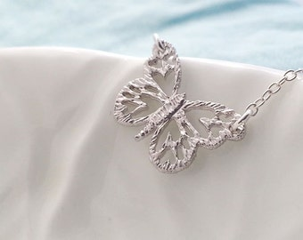 Butterfly Necklace. Sterling Silver Necklace. Silver Butterfly. Delicate Dainty. Layering. Feminine. Simple Everyday Wear