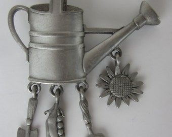 Vintage J.J. Pewter Brooch -Watering Can  - Signed JJ - Jonette Collectible Jewelry - Womens Accessory