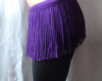 CROCHET FRINGES SKIRT Mini Skirt Belt Summer Festival Crochet Purple Lilac Hippie Belt Crochet Belt Hawaii Skirt Festival Dance Fringe Belt
