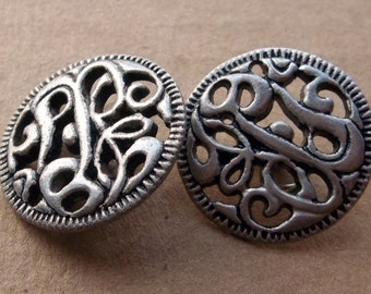 nos brushed silver tone metal unique open work button--matching lot of 2