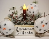 Snowman Collector Lighted Box, Christmas Winter Candle Lamp, Lighted Holiday Decor
