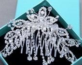 Rhinestone Pearl Comb, Crystal Bridal Comb, Bridal Rhinestone Headpiece, Wedding Rhinestone Comb, Star Hair Comb, Dangle Hair Comb