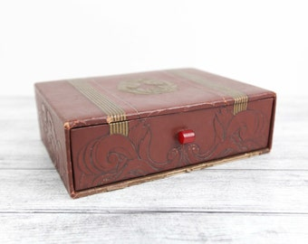 Vintage Faux Leather, Padded stamped pattern trinket / makeup box w/ red bakelite handle