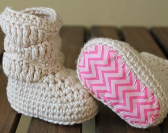 Baby Girl Boots, Crochet Boots, Pink Chevron Slouch Booties, Baby Soft Shoes