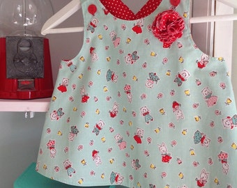 Little Girls Reversible Pinafore/Apron Size 1 to 3, Toddler Apron, Children, Kids, Christmas Gift for Girls