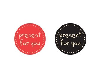 "Set of 50, ""present for you""  sticker 4CM"