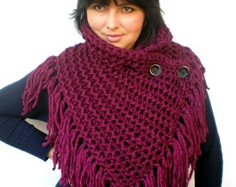 Fringe Plump Bordeaux Ivy Cowl Super Soft Wool Neckwarmer Women Fashion Cowl Chunky Texture Cowlneck NEW
