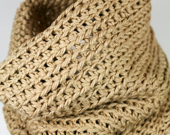 Whole Wheat - Pima Cotton Chunky Cowl Neckwarmer, Unisex
