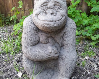 Gorilla with banana 10 inches high