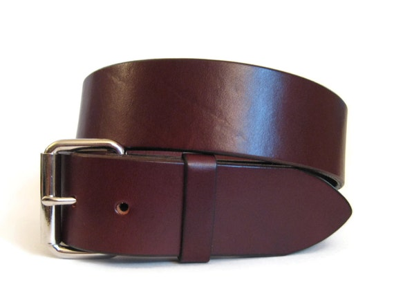 chestnut brown leather belt heavy duty by angelleathershop
