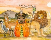 "Princess painting, african art, whimsical childrens painting, big eye girl art, girls room decor, ""African Princess"" archival fine art print"