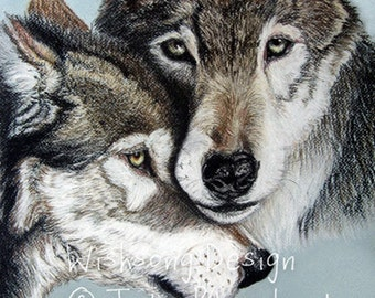 """Wolf painting, nature art, animal painting, forest creature, wildlife art """"Wolves"""", archival fine art print"""