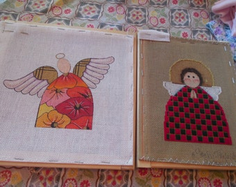 two  kits cross stitch  angles in wood frame.with nylon threads included.