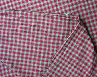 Cotton Christmas Plaid Fabric Green Red Plaid - 1 1/8 Yard - HCF0797
