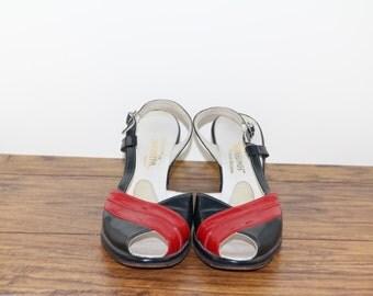 Vintage 1950s JACK ROGERS Wedgelings. Wedge Heels. Red and Blue. Peep Toe. Sling Back Wedge. Size 6-6.5US. Vintage Heels