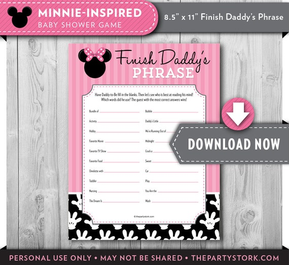 baby shower games finish daddy 39 s phrase minnie mouse baby shower