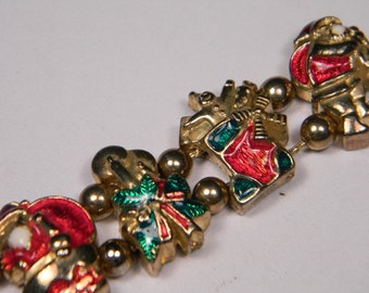 Christmas Slide Bracelet, Enamel, Green, Red and Gold Tone