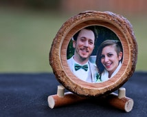 Handmade Round Picture Frame: Rustic Pine Tree Trunk Slice Frame with Stand. Perfect rustic, woodsy gift!