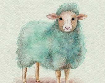 Blue Sheep Art Print, Art print, Nature Prints, home decor, wall decor, wall art, wall art print, living room decor, living room art