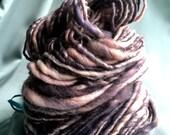 Handspun art yarn bulky thick n' thin BFL knitting weaving felting fiber wool
