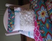 """Turquoise Flower Bedding Set for American Girl Doll or similar 18"""" dolls"""