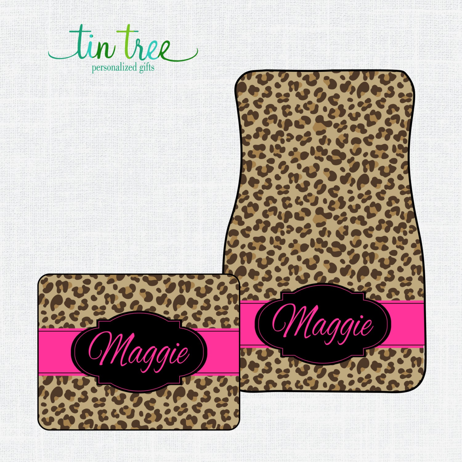 Personalized Car Floor Mats Cheetah