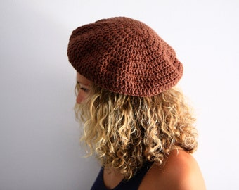 Women beret slouchy chunky tam hat winter fashion, in brown, Phoebe, vegan friendly