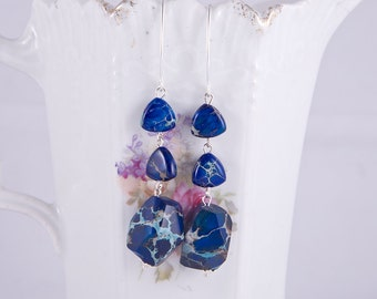 Elegant long sterling silver earrings with beautiful aqua terra jasper blue gemstones, chunky aqua terra blue jasper stones, marquis hooks