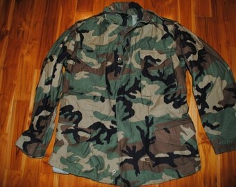 1995 US Army Issue - Coat Woodland Men's Field M-65 Jacket - Medium Long