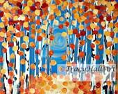 Birch Tree Painting Autumn Orange Fall Season Art Canvas 20 x 20
