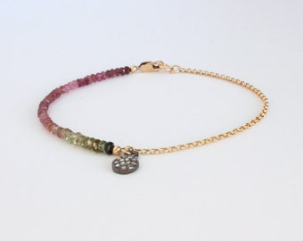 Tourmaline Bracelet | Pave Diamond Charm Drop | October Birthstone Pink Green Ombre Delicate Everyday Jewelry