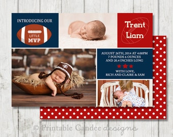 Football Baby Birth Announcement Photo Card - Blue and Red - DIY Custom Printable